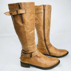STEVE MADDEN Boots ALYY Cognac Brown Leather 9.5